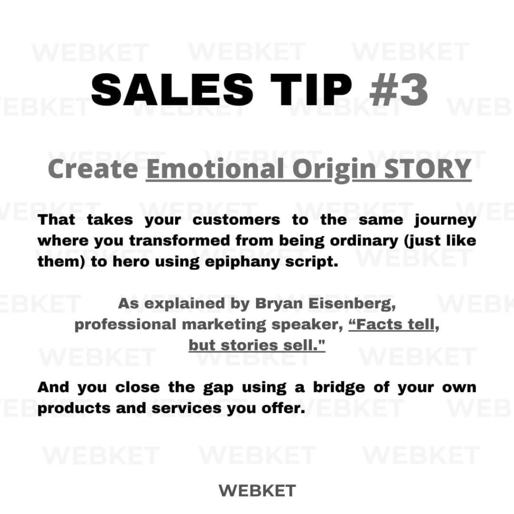 sales tip #3 how to sell using your origin story